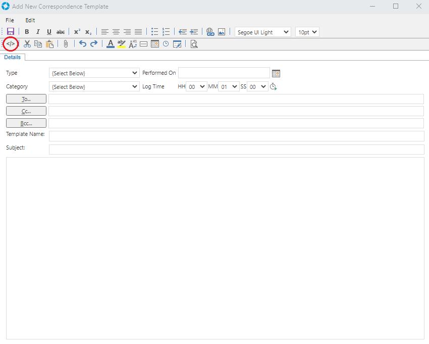 crm correspondence templates
