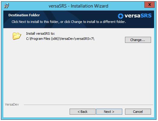 versaSRS Version 6 Installation