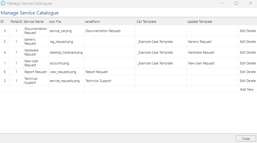 Service Catalogues - Management